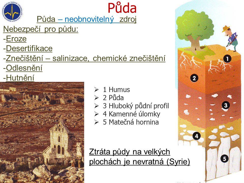  1 Humus  2 Půda  3 Hluboký půdní profil  4 Kamenné úlomky  5 Matečná hornina Půda – neobnovitelný zdroj Nebezpečí pro půdu: -Eroze -Desertifikace -Znečištění – salinizace, chemické znečištění -Odlesnění -Hutnění Ztráta půdy na velkých plochách je nevratná (Syrie)