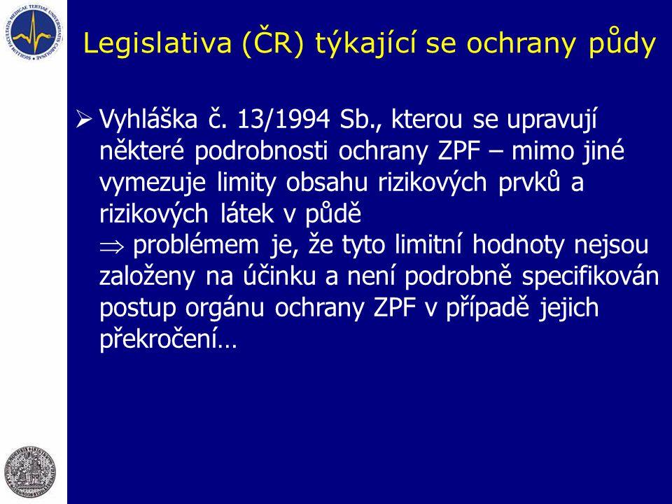 Legislativa (ČR) týkající se ochrany půdy  Vyhláška č.