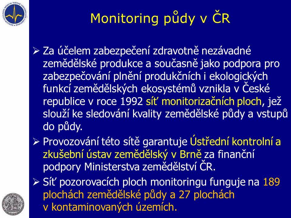 Monitoring půdy v ČR  Za účelem zabezpečení zdravotně nezávadné zemědělské produkce a současně jako podpora pro zabezpečování plnění produkčních i ekologických funkcí zemědělských ekosystémů vznikla v České republice v roce 1992 síť monitorizačních ploch, jež slouží ke sledování kvality zemědělské půdy a vstupů do půdy.