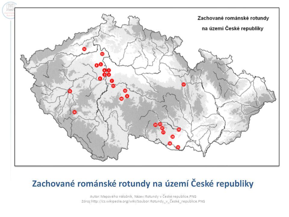 Zachované románské rotundy na území České republiky Autor:Mapového náložník, Název:Rotundy v České republice.PNG Zdroj:http://cs.wikipedia.org/wiki/So