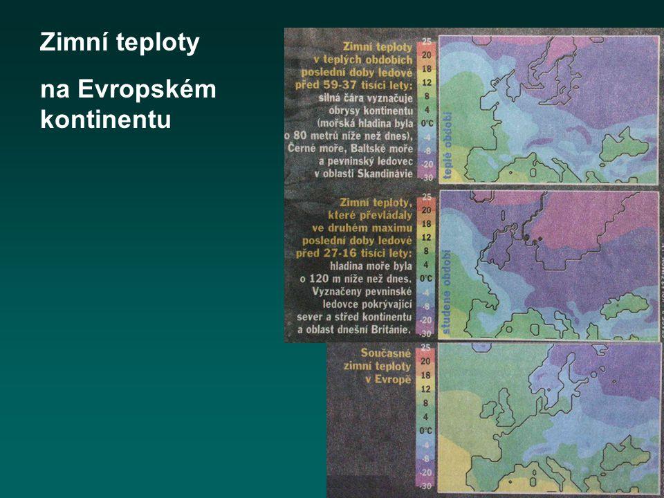 Zimní teploty na Evropském kontinentu