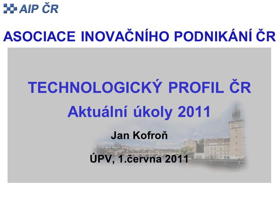ASOCIACE INOVAČNÍHO PODNIKÁNÍ ČR TECHNOLOGICKÝ PROFIL ČR Aktuální úkoly 2011 Jan Kofroň ÚPV, 1.června 2011
