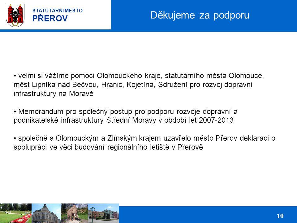 Prezentace podnikatelských ploch pro investory 10 STATUTÁRNÍ MĚSTO PŘEROV Děkujeme za podporu velmi si vážíme pomoci Olomouckého kraje, statutárního města Olomouce, měst Lipníka nad Bečvou, Hranic, Kojetína, Sdružení pro rozvoj dopravní infrastruktury na Moravě Memorandum pro společný postup pro podporu rozvoje dopravní a podnikatelské infrastruktury Střední Moravy v období let 2007-2013 společně s Olomouckým a Zlínským krajem uzavřelo město Přerov deklaraci o spolupráci ve věci budování regionálního letiště v Přerově