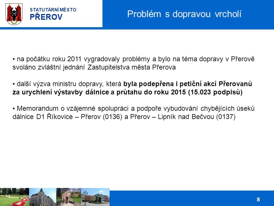 Prezentace podnikatelských ploch pro investory 8 STATUTÁRNÍ MĚSTO PŘEROV Problém s dopravou vrcholí na počátku roku 2011 vygradovaly problémy a bylo n