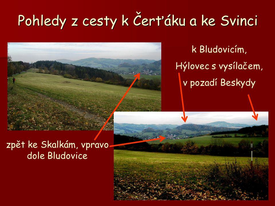 Pohledy z cesty k Čerťáku a ke Svinci zpět ke Skalkám, vpravo dole Bludovice k Bludovicím, Hýlovec s vysílačem, v pozadí Beskydy