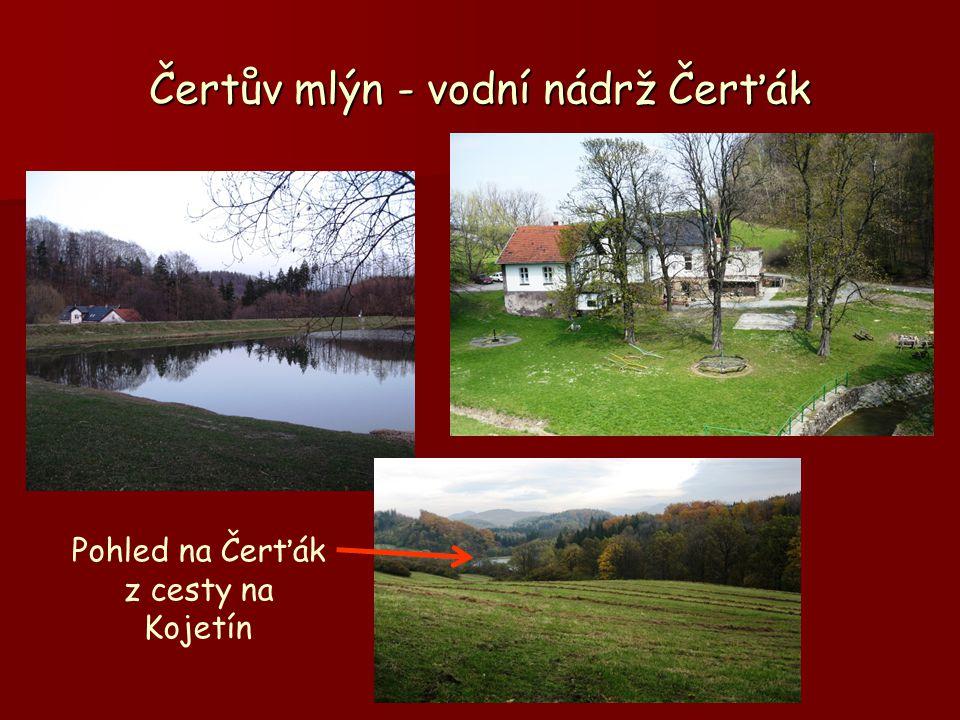 Čertův mlýn - vodní nádrž Čerťák Pohled na Čerťák z cesty na Kojetín
