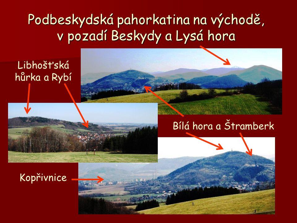 Podbeskydská pahorkatina na východě, v pozadí Beskydy a Lysá hora Libhošťská hůrka a Rybí Bílá hora a Štramberk Kopřivnice