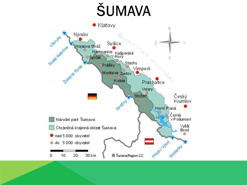 Šumava je rozsáhlé pohoří na hranicích Čech, Bavorska a Rakouska.