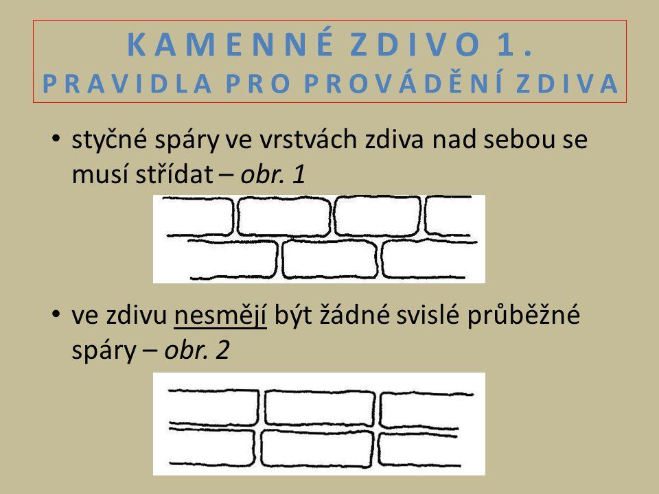 K A M E N N É Z D I V O 1. P R A V I D L A P R O P R O V Á D Ě N Í Z D I V A styčné spáry ve vrstvách zdiva nad sebou se musí střídat – obr. 1 ve zdiv