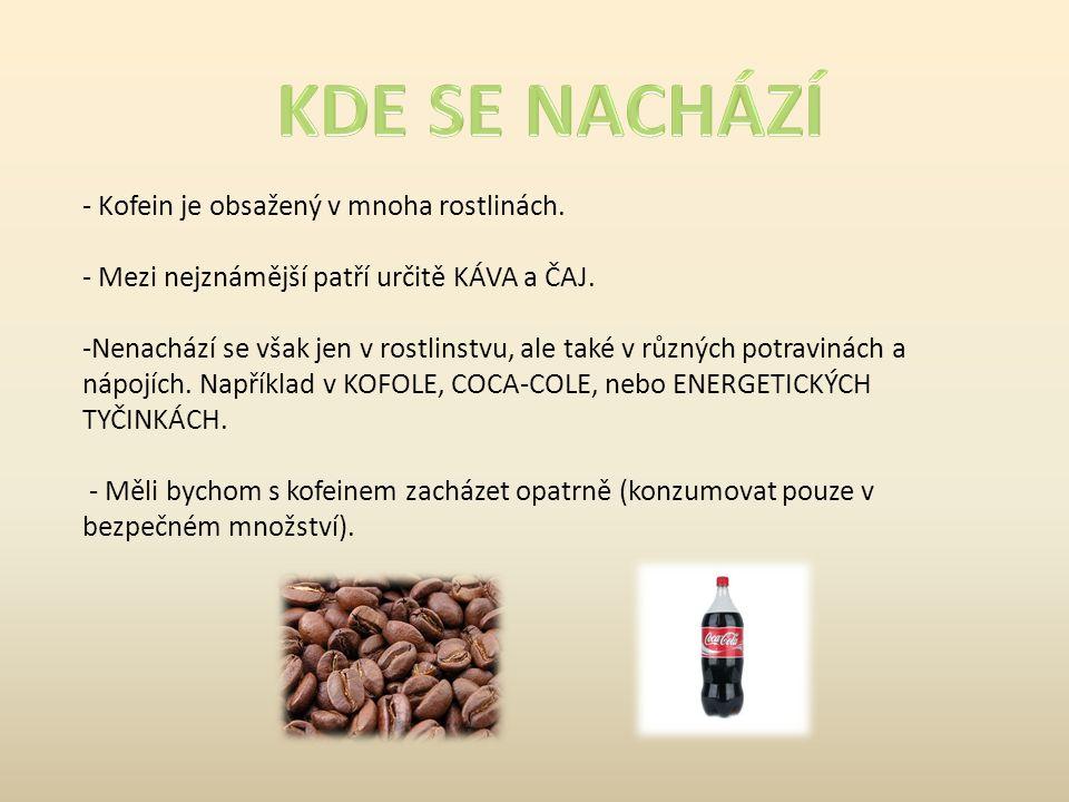 - Kofein je obsažený v mnoha rostlinách. - Mezi nejznámější patří určitě KÁVA a ČAJ. -Nenachází se však jen v rostlinstvu, ale také v různých potravin
