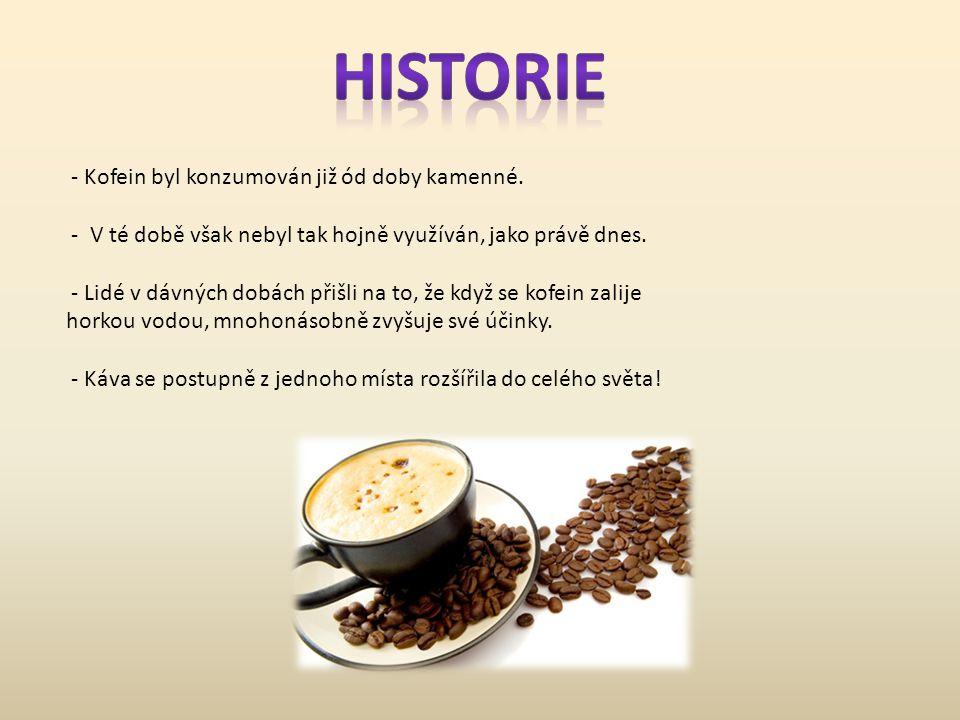 - Kofein byl konzumován již ód doby kamenné. - V té době však nebyl tak hojně využíván, jako právě dnes. - Lidé v dávných dobách přišli na to, že když