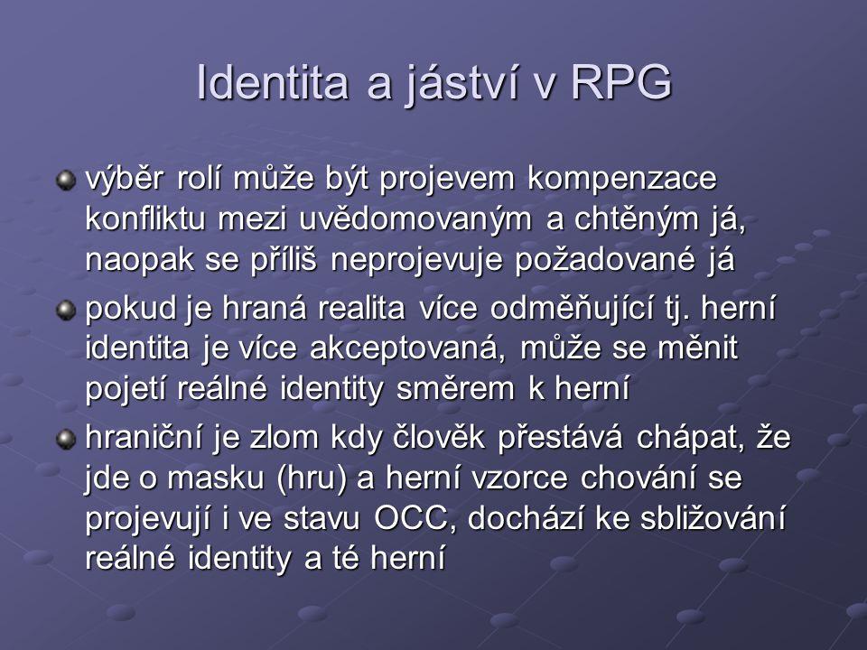 Identita a jáství v RPG výběr rolí může být projevem kompenzace konfliktu mezi uvědomovaným a chtěným já, naopak se příliš neprojevuje požadované já p