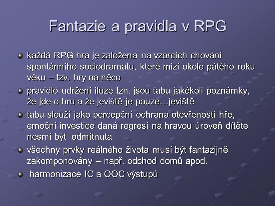 Fantazie a pravidla v RPG každá RPG hra je založena na vzorcích chování spontánního sociodramatu, které mizí okolo pátého roku věku – tzv. hry na něco