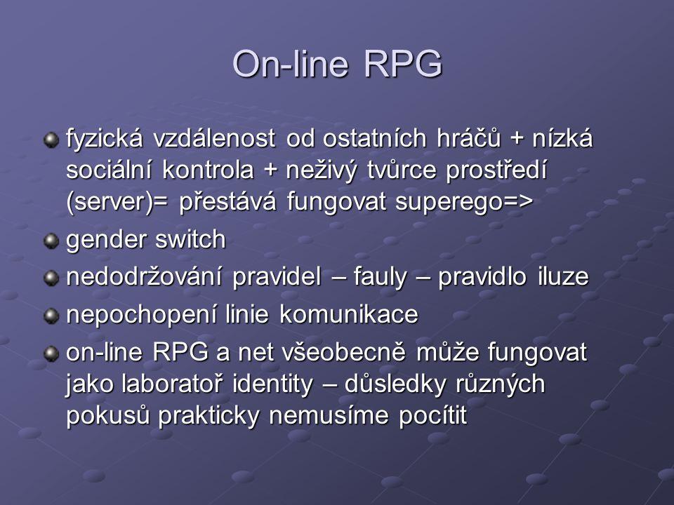 On-line RPG fyzická vzdálenost od ostatních hráčů + nízká sociální kontrola + neživý tvůrce prostředí (server)= přestává fungovat superego=> gender sw