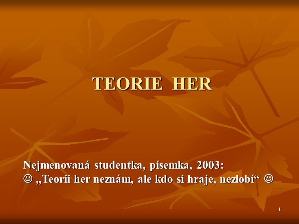 """1 TEORIE HER Nejmenovaná studentka, písemka, 2003: """"Teorii her neznám, ale kdo si hraje, nezlobí """"Teorii her neznám, ale kdo si hraje, nezlobí"""