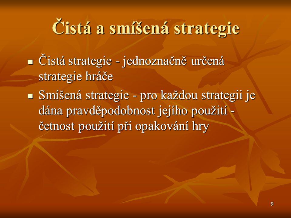 9 Čistá a smíšená strategie Čistá strategie - jednoznačně určená strategie hráče Čistá strategie - jednoznačně určená strategie hráče Smíšená strategie - pro každou strategii je dána pravděpodobnost jejího použití - četnost použití při opakování hry Smíšená strategie - pro každou strategii je dána pravděpodobnost jejího použití - četnost použití při opakování hry