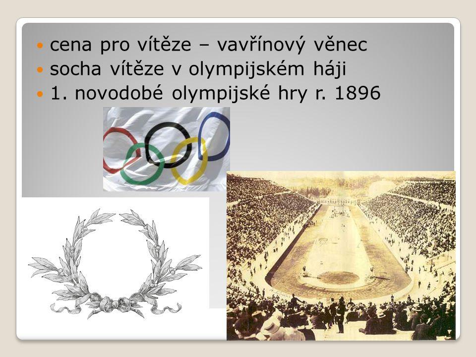 cena pro vítěze – vavřínový věnec socha vítěze v olympijském háji 1. novodobé olympijské hry r. 1896