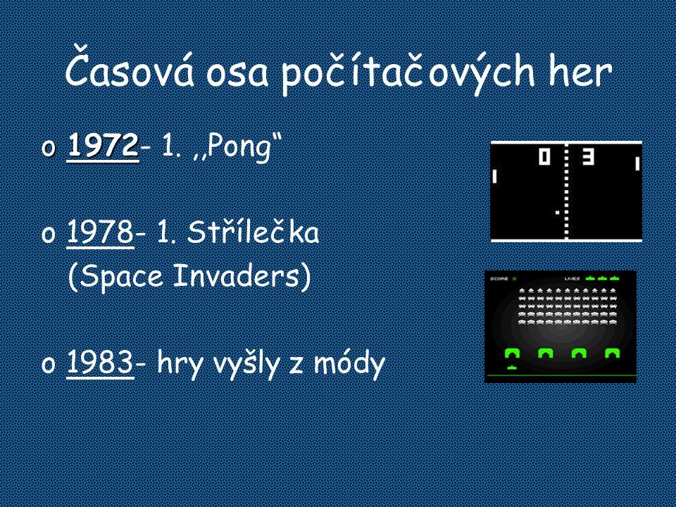 "Časová osa počítačových her o1972 o1972- 1.,,Pong"" o1978- 1. Střílečka (Space Invaders) o1983- hry vyšly z módy"