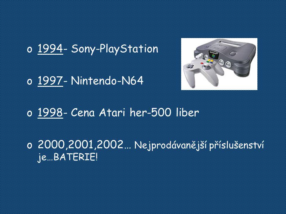 o1994- Sony-PlayStation o1997- Nintendo-N64 o1998- Cena Atari her-500 liber o2000,2001,2002… Nejprodávanější příslušenství je…BATERIE!