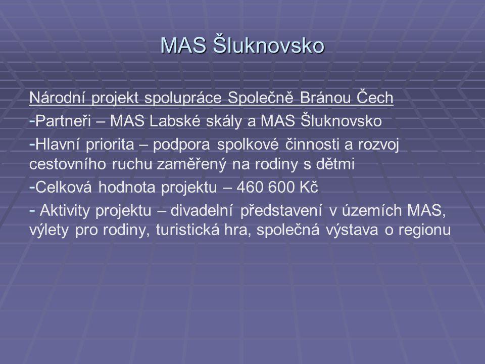 MAS Šluknovsko Národní projekt spolupráce Společně Bránou Čech - - Partneři – MAS Labské skály a MAS Šluknovsko - - Hlavní priorita – podpora spolkové činnosti a rozvoj cestovního ruchu zaměřený na rodiny s dětmi - - Celková hodnota projektu – 460 600 Kč - - Aktivity projektu – divadelní představení v územích MAS, výlety pro rodiny, turistická hra, společná výstava o regionu