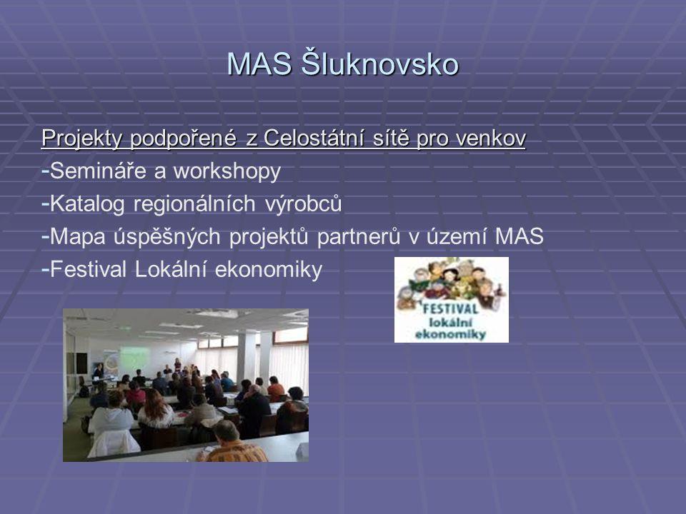 MAS Šluknovsko Projekty podpořené z Celostátní sítě pro venkov - - Semináře a workshopy - - Katalog regionálních výrobců - - Mapa úspěšných projektů partnerů v území MAS - - Festival Lokální ekonomiky