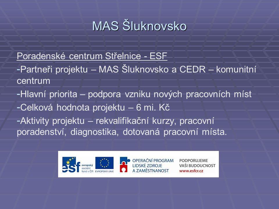 MAS Šluknovsko Poradenské centrum Střelnice - ESF - - Partneři projektu – MAS Šluknovsko a CEDR – komunitní centrum - - Hlavní priorita – podpora vzniku nových pracovních míst - - Celková hodnota projektu – 6 mi.