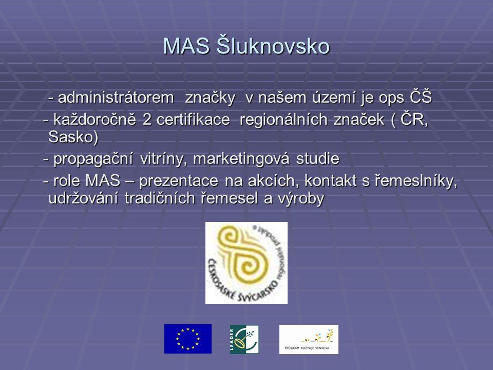 MAS Šluknovsko - administrátorem značky v našem území je ops ČŠ - každoročně 2 certifikace regionálních značek ( ČR, Sasko) - každoročně 2 certifikace regionálních značek ( ČR, Sasko) - propagační vitríny, marketingová studie - propagační vitríny, marketingová studie - role MAS – prezentace na akcích, kontakt s řemeslníky, udržování tradičních řemesel a výroby - role MAS – prezentace na akcích, kontakt s řemeslníky, udržování tradičních řemesel a výroby