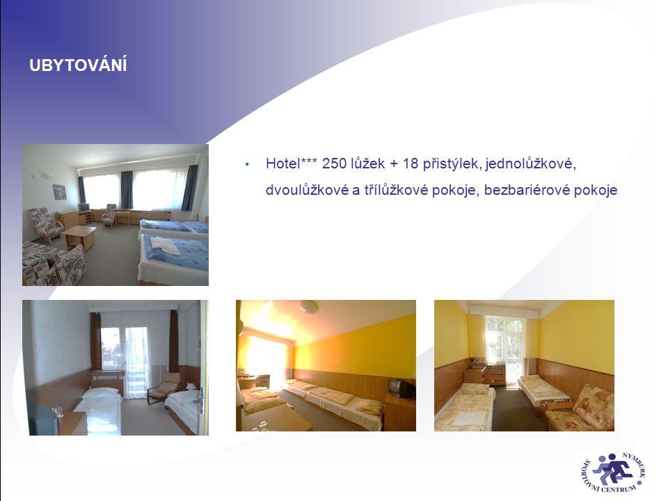 UBYTOVÁNÍ Hotel*** 250 lůžek + 18 přistýlek, jednolůžkové, dvoulůžkové a třílůžkové pokoje, bezbariérové pokoje