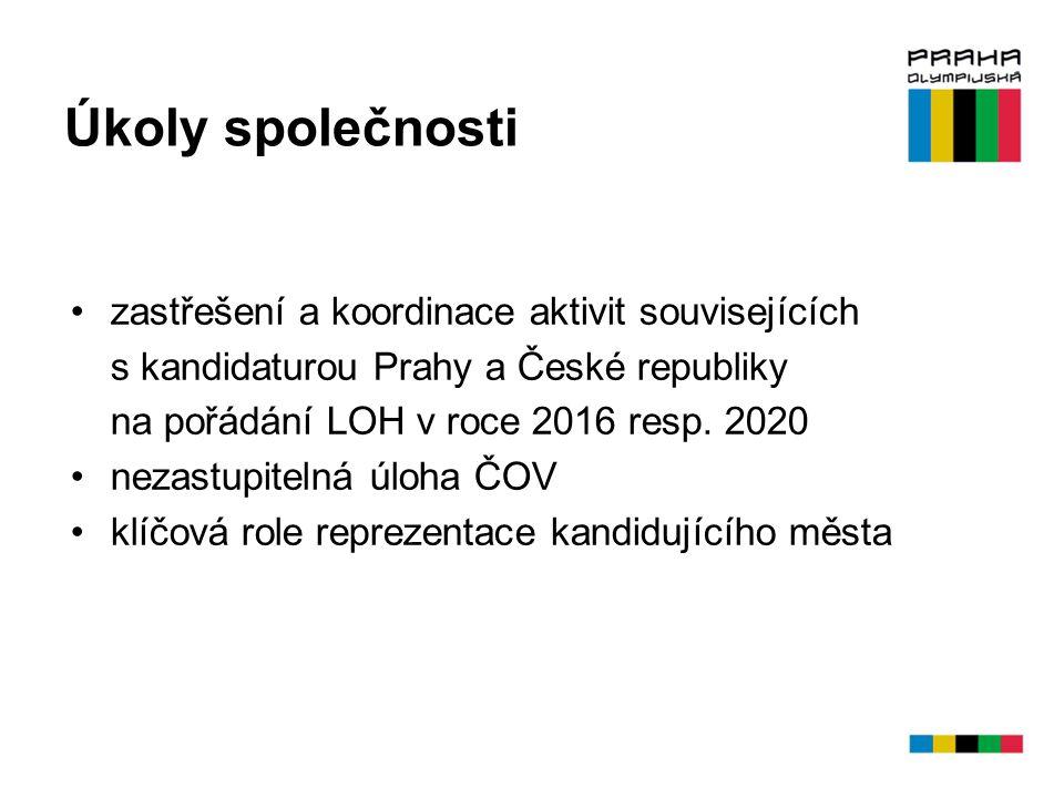 Úkoly společnosti zastřešení a koordinace aktivit souvisejících s kandidaturou Prahy a České republiky na pořádání LOH v roce 2016 resp. 2020 nezastup