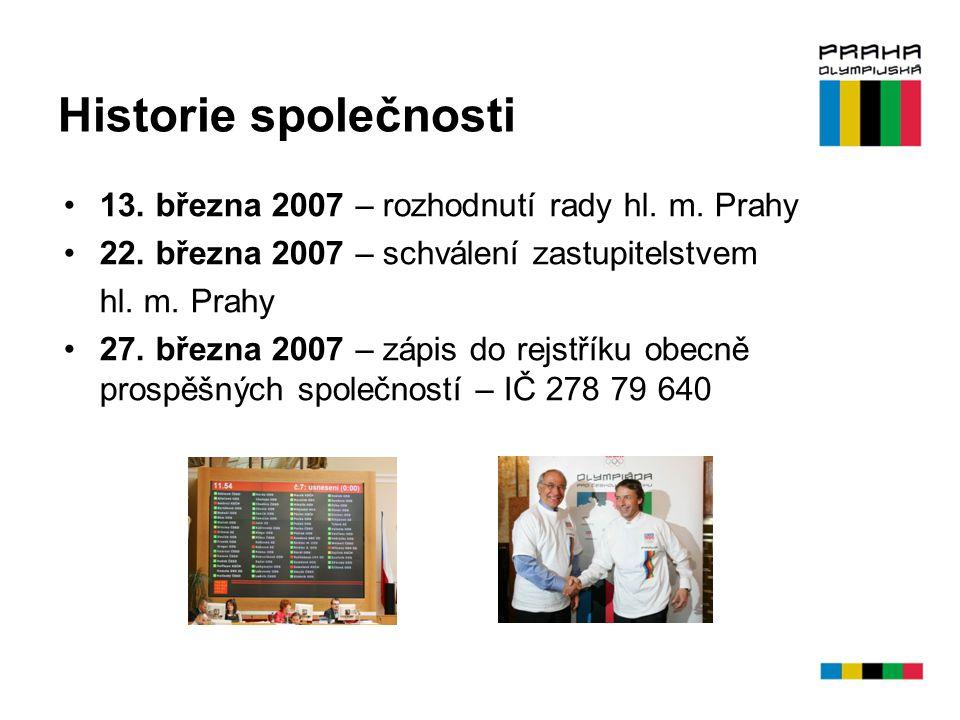 Historie společnosti 13. března 2007 – rozhodnutí rady hl. m. Prahy 22. března 2007 – schválení zastupitelstvem hl. m. Prahy 27. března 2007 – zápis d