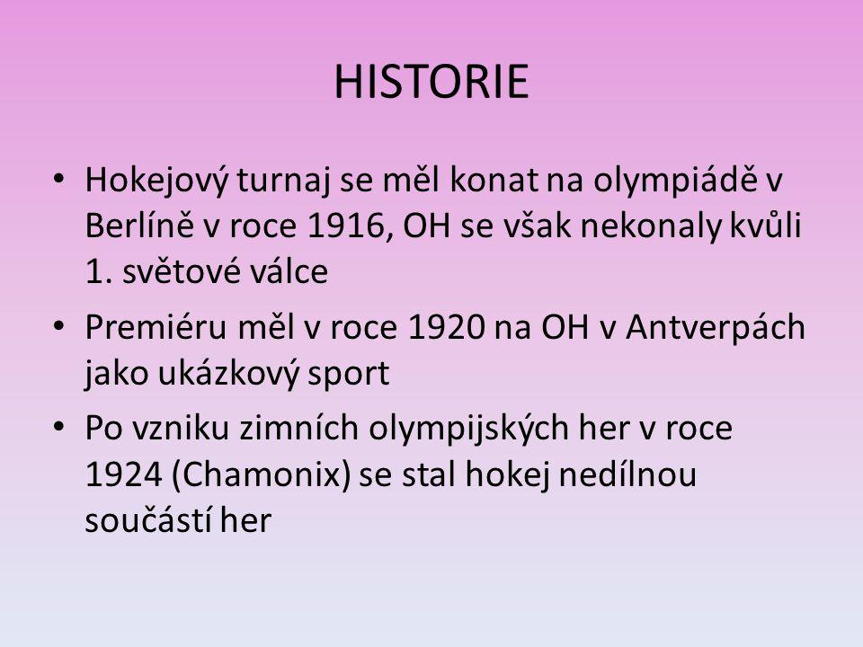 HISTORIE Hokejový turnaj se měl konat na olympiádě v Berlíně v roce 1916, OH se však nekonaly kvůli 1. světové válce Premiéru měl v roce 1920 na OH v
