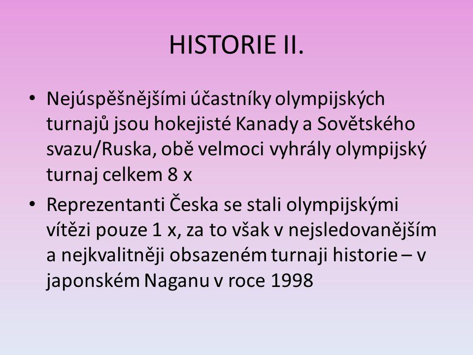 HISTORIE II. Nejúspěšnějšími účastníky olympijských turnajů jsou hokejisté Kanady a Sovětského svazu/Ruska, obě velmoci vyhrály olympijský turnaj celk