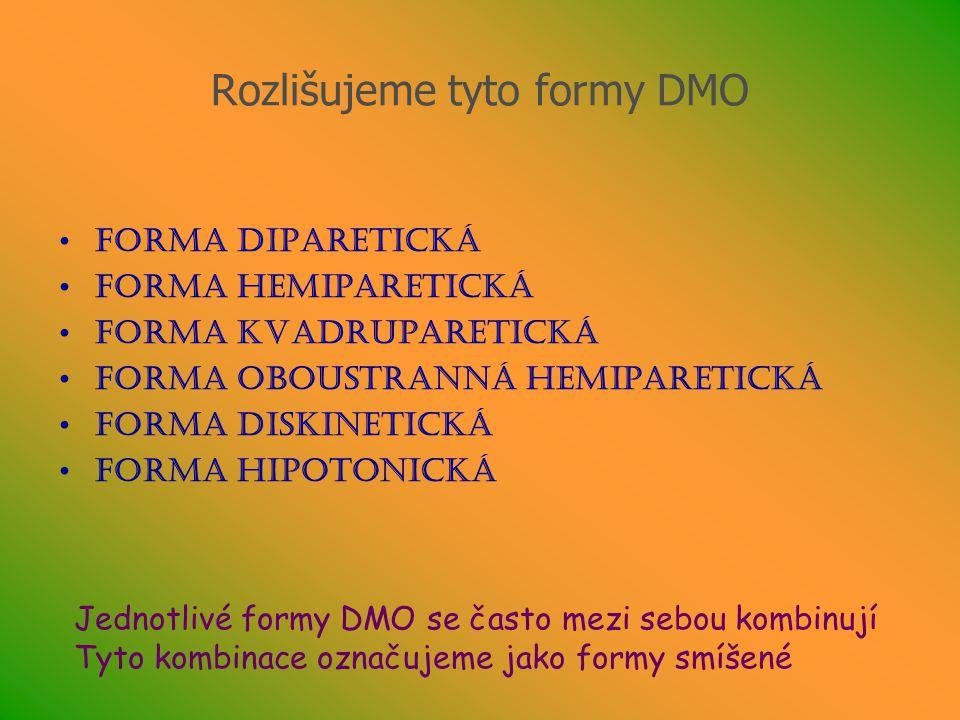 Rozlišujeme tyto formy DMO Forma diparetická Forma hemiparetická Forma kvadruparetická Forma oboustranná hemiparetická Forma diskinetická Forma hipoto