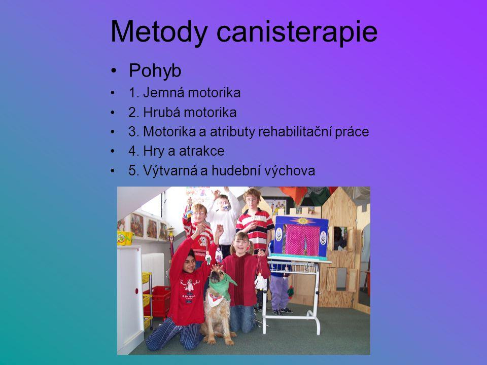 Metody canisterapie Pohyb 1. Jemná motorika 2. Hrubá motorika 3. Motorika a atributy rehabilitační práce 4. Hry a atrakce 5. Výtvarná a hudební výchov