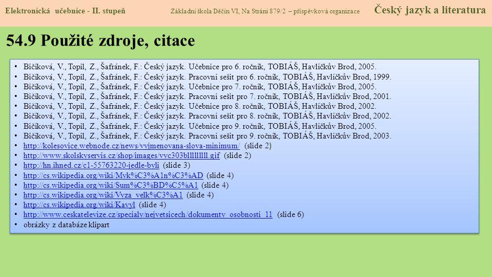 54.9 Použité zdroje, citace Elektronická učebnice - II.