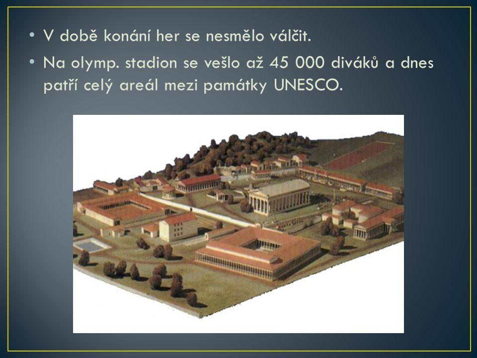 V době konání her se nesmělo válčit. Na olymp. stadion se vešlo až 45 000 diváků a dnes patří celý areál mezi památky UNESCO.