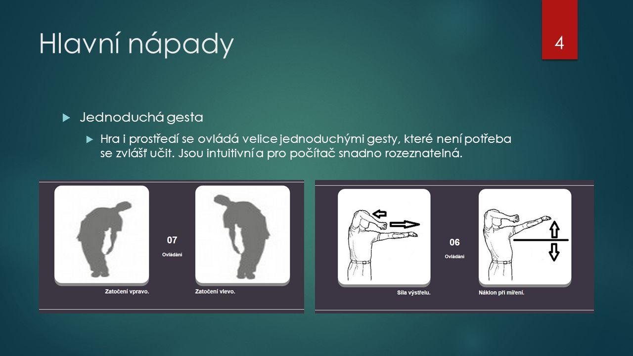 Hlavní nápady  Jednoduchá gesta  Hra i prostředí se ovládá velice jednoduchými gesty, které není potřeba se zvlášť učit. Jsou intuitivní a pro počít