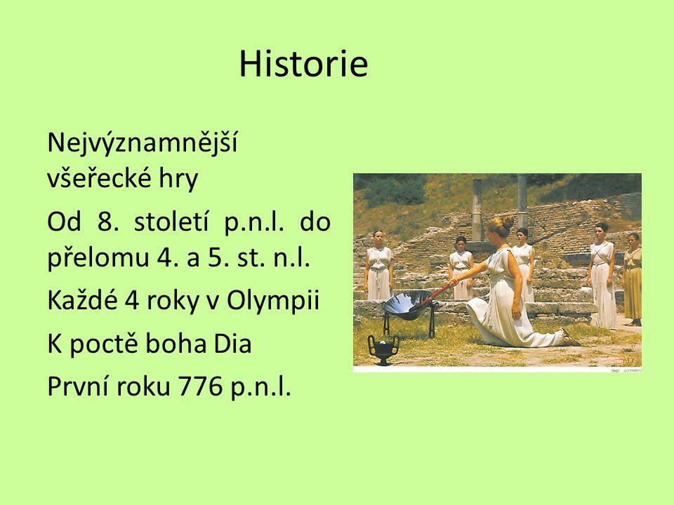Historie Nejvýznamnější všeřecké hry Od 8. století p.n.l.