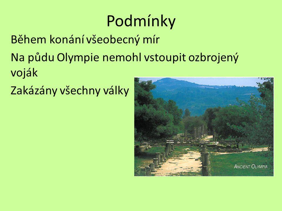 Podmínky Během konání všeobecný mír Na půdu Olympie nemohl vstoupit ozbrojený voják Zakázány všechny války