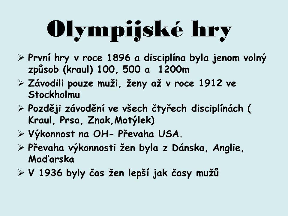  První hry v roce 1896 a disciplína byla jenom volný způsob (kraul) 100, 500 a 1200m  Závodili pouze muži, ženy až v roce 1912 ve Stockholmu  Později závodění ve všech čtyřech disciplínách ( Kraul, Prsa, Znak,Motýlek)  Výkonnost na OH- Převaha USA.