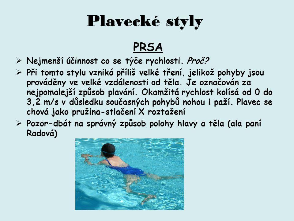 Plavecké styly PRSA  Nejmenší účinnost co se týče rychlosti.