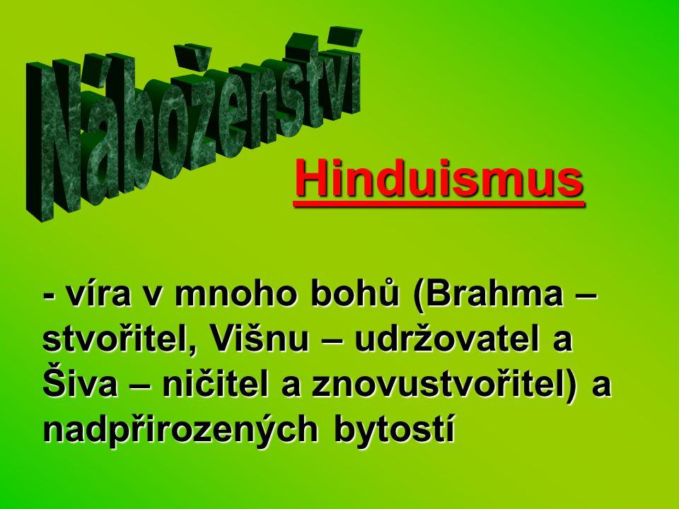 Hinduismus - víra v mnoho bohů (Brahma – stvořitel, Višnu – udržovatel a Šiva – ničitel a znovustvořitel) a nadpřirozených bytostí