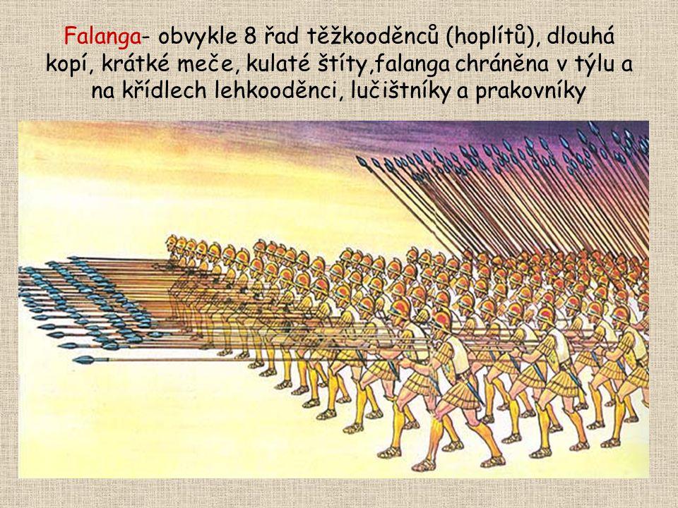 Falanga- obvykle 8 řad těžkooděnců (hoplítů), dlouhá kopí, krátké meče, kulaté štíty,falanga chráněna v týlu a na křídlech lehkooděnci, lučištníky a p