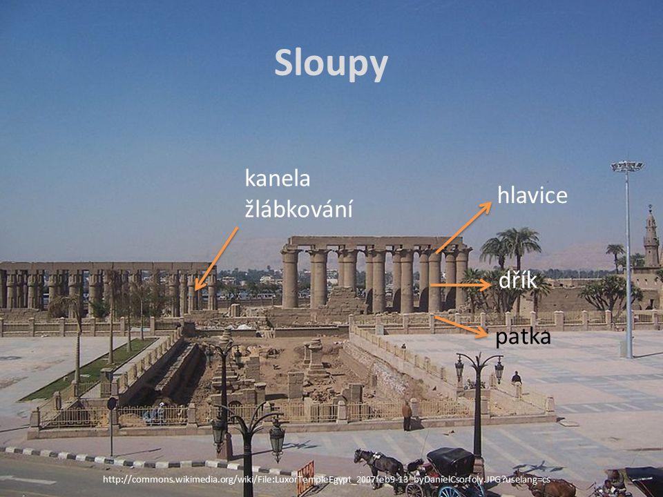 http://commons.wikimedia.org/wiki/File:LuxorTempleEgypt_2007feb9-13_byDanielCsorfoly.JPG?uselang=cs Sloupy hlavice dřík patka kanela žlábkování