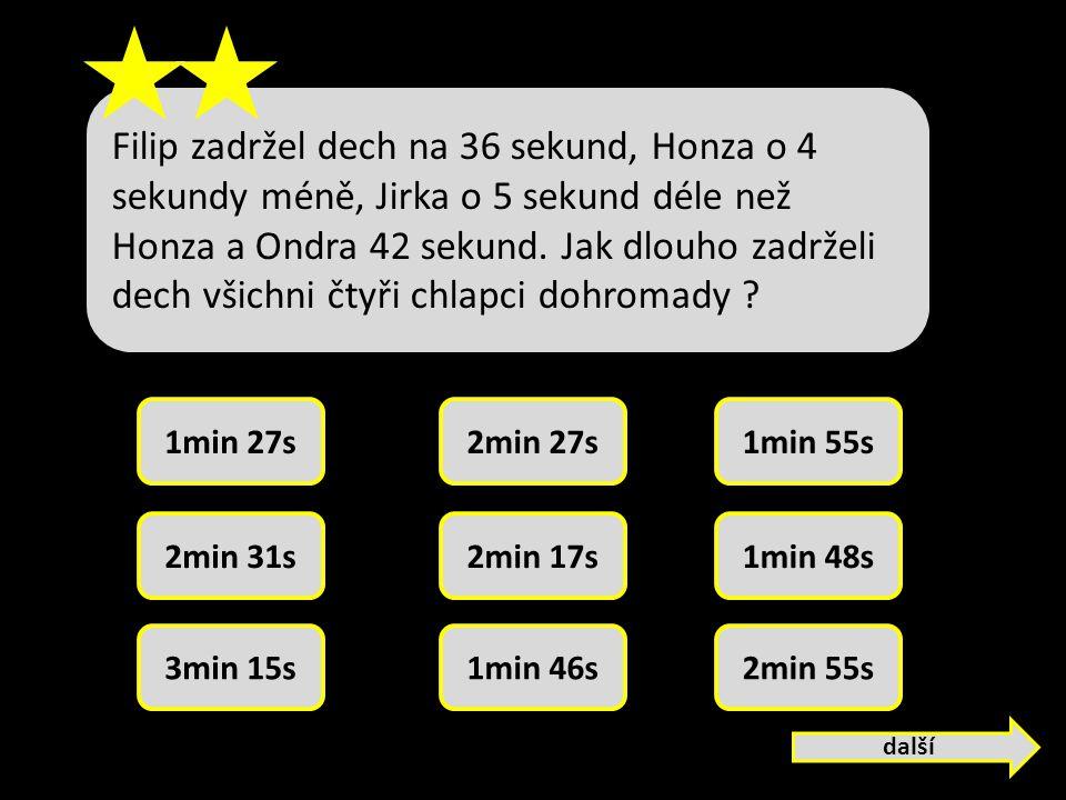 Filip zadržel dech na 36 sekund, Honza o 4 sekundy méně, Jirka o 5 sekund déle než Honza a Ondra 42 sekund.