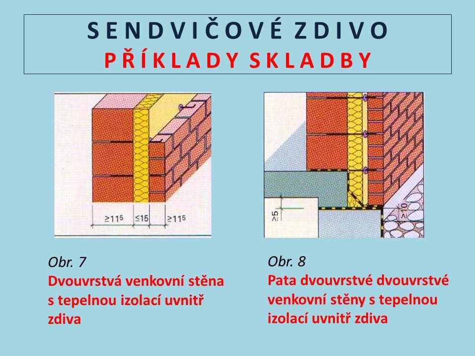 S E N D V I Č O V É Z D I V O P Ř Í K L A D Y S K L A D B Y Obr. 7 Dvouvrstvá venkovní stěna s tepelnou izolací uvnitř zdiva Obr. 8 Pata dvouvrstvé dv
