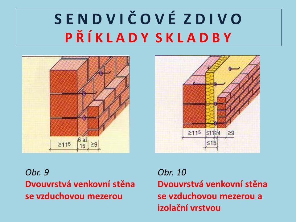 S E N D V I Č O V É Z D I V O P Ř Í K L A D Y S K L A D B Y Obr. 9 Dvouvrstvá venkovní stěna se vzduchovou mezerou Obr. 10 Dvouvrstvá venkovní stěna s