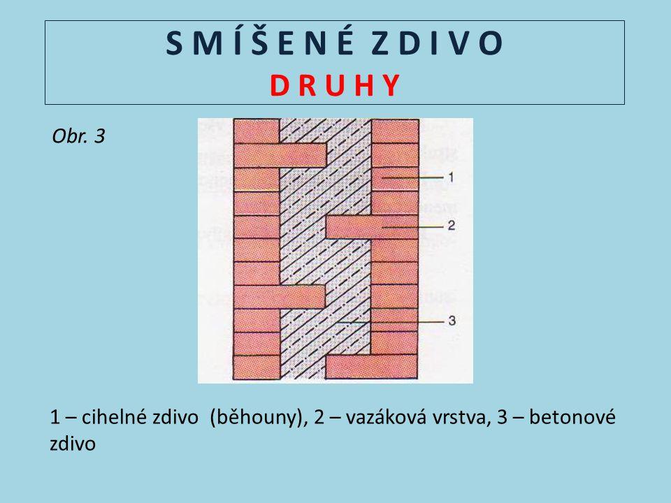 S M Í Š E N É Z D I V O D R U H Y Obr. 3 1 – cihelné zdivo (běhouny), 2 – vazáková vrstva, 3 – betonové zdivo