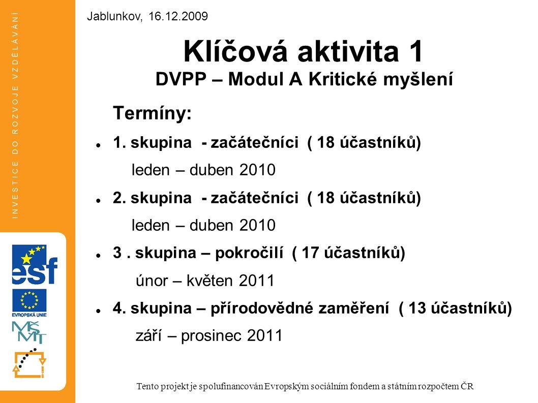 Klíčová aktivita 1 DVPP – Modul A Kritické myšlení Termíny: 1. skupina - začátečníci ( 18 účastníků) leden – duben 2010 2. skupina - začátečníci ( 18