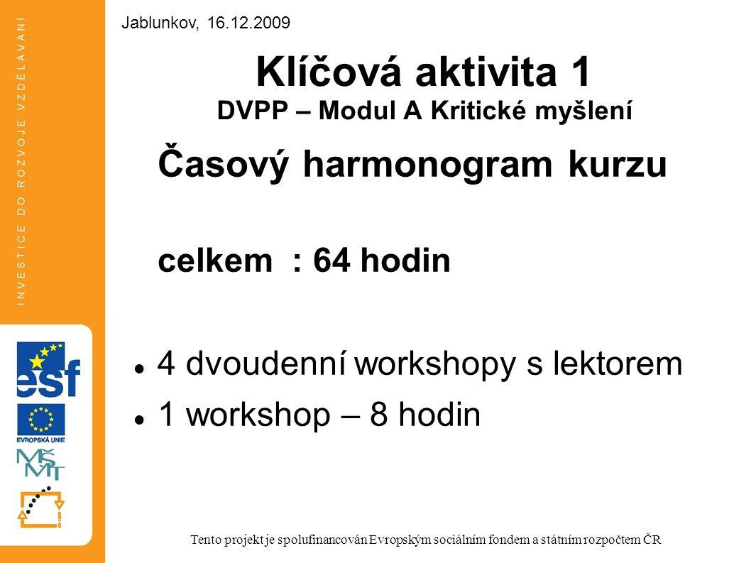 Klíčová aktivita 1 DVPP – Modul A Kritické myšlení Časový harmonogram kurzu celkem : 64 hodin 4 dvoudenní workshopy s lektorem 1 workshop – 8 hodin Te
